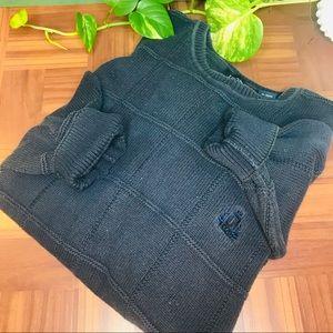 vtg 90s oversized navy textured boyfriend sweater